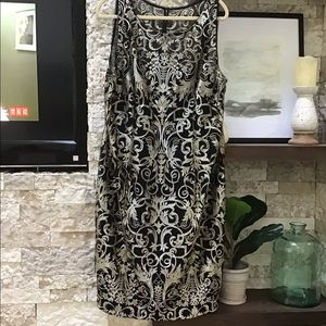 Adrianna Papell black gold beige lace dress midi